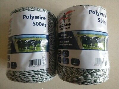 Poly Electric Fence Wire 3 Rolls of 500m x 3mm 9 Strand Electric Fence Wire AKO