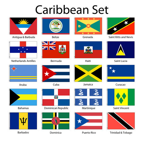 Caribbean 3x5/' Flag Set of 20 Country Lightweight Polyester Flags NEW