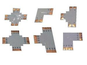 LED-RGB-Strip-Verbinder-Flex-Kabel-Adapter-Form-Ecke-Kreuz-L-T-NEU-mit-Clips