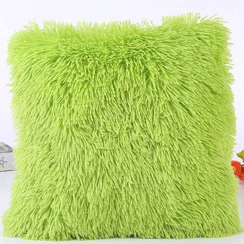 Fluffy Fur Plush Pillow Case Shaggy Home Sofa Decor Soft Cushion Cover Throw