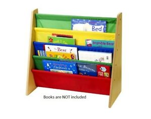 Image Is Loading Childrens Sling Bookcase Kids Wooden Bookshelf Rack Books