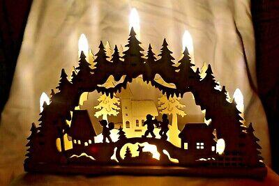 beleuchteter Schwibbogen Leuchter Lichterbogen aus Holz 52 10105A