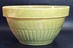 Vintage-8-Inch-Yellow-Ware-Stoneware-Green-Glaze-Mixing-Bowl