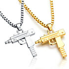High Supreme Unisex Gold Machine Gun Pendant Necklace Long Chain Fashion Jewelry