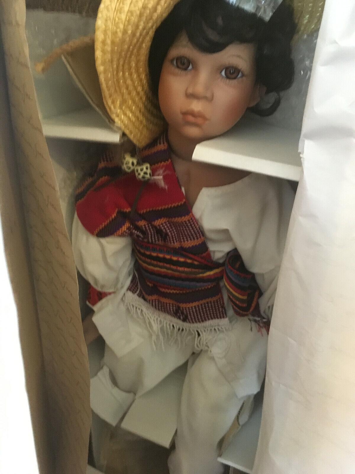 Rare WORLD GALLERY Hispanic Boy Pepito PORCELAIN DOLL BY Laura Jane lmtd 1,500