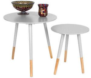 Designer Beistelltisch Rund 2er Set Weiß Holz Tisch Retro