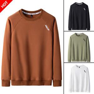 Mens-Casual-Long-Sleeve-Crew-Neck-Pullover-Plain-Jumper-Tops-Blouse-Sweatshirts