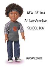 "18"" African American Black Hair SCHOOL BOY DOLL Set My Life As 18"" American Girl"