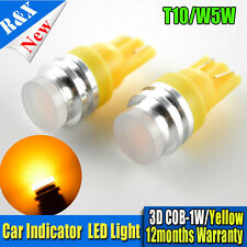 1X T10 168 194 W5W COB 1W LED Yellow Park Position Light Wedge Bulb Side Marker