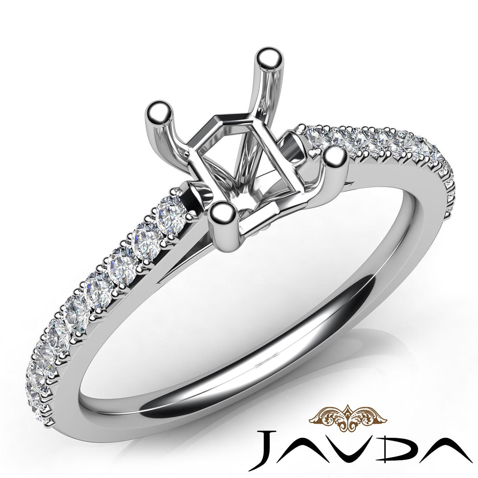 Prong Setting Asscher Diamond Engagement Semi Mount Ring 14k White gold 0.3Ct