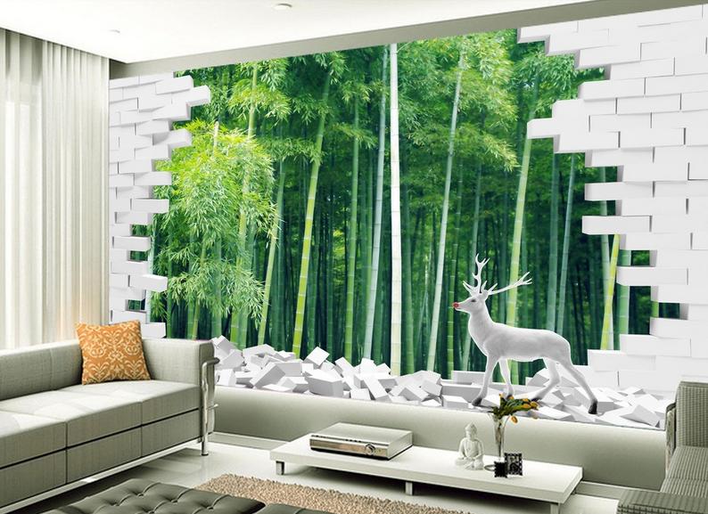 3D Weißer Hirsch Bambus 875 Tapete Wandgemälde Tapete Tapeten Bild Familie DE   Up-to-date-styling    Maßstab ist der Grundstein, Qualität ist Säulenbalken, Preis ist Leiter    Online-Shop