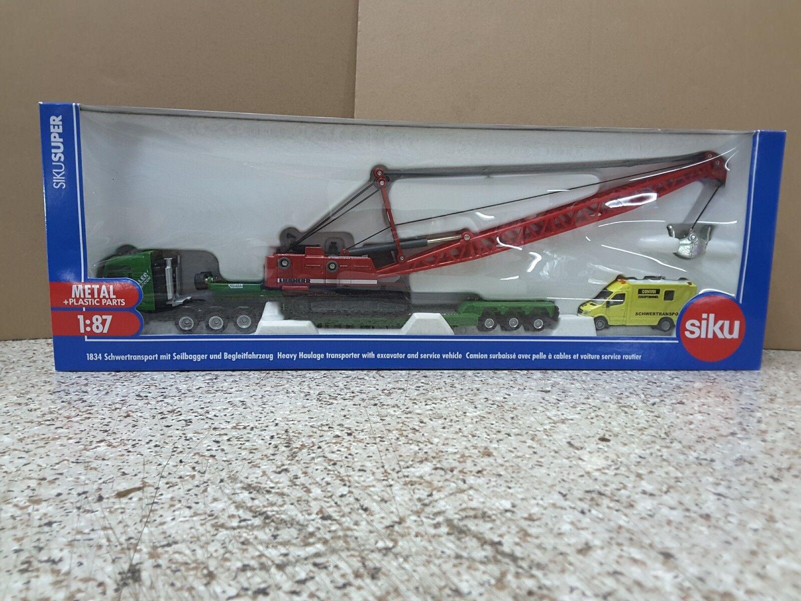 SIKU  1834 1 87 die cast Havery  Transport Transporteur Avec Pelle & Service véhicule  sortie d'usine