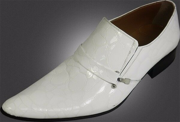 100% Chelsy - Italiano Designer Slipper Coccodrillo Motivo Seitenschalle Bianche