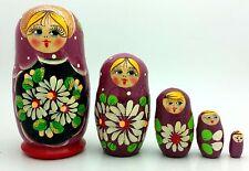 TRADITIONAL Russian Matryoshka Hand Painted Nesting Babushka set of 5 dolls