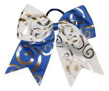 "NEW ""Silver Swirl WHITE & BLUE"" Cheer Bow Pony Tail Ribbon Hair Bow Cheerleading"