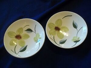 VINTAGE-BLUE-RIDGE-POTTERY-SOUTHERN-POTTERIES-GREEN-EYES-2-SMALL-BOWLS-DESSERT