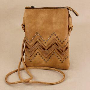 Tan Brown Soft Passport Bag Zipper Phone Pocket Adjust Strap Boho Faux Leather