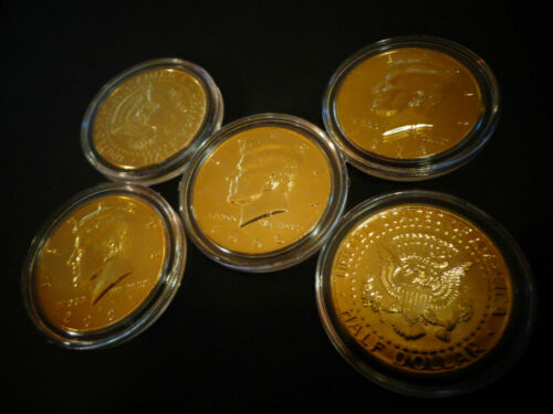 LOT OF 5 *24 KT GOLD PLATED KENNEDY HALF DOLLAR* COIN SET AIRTIGHT CAPSULE.