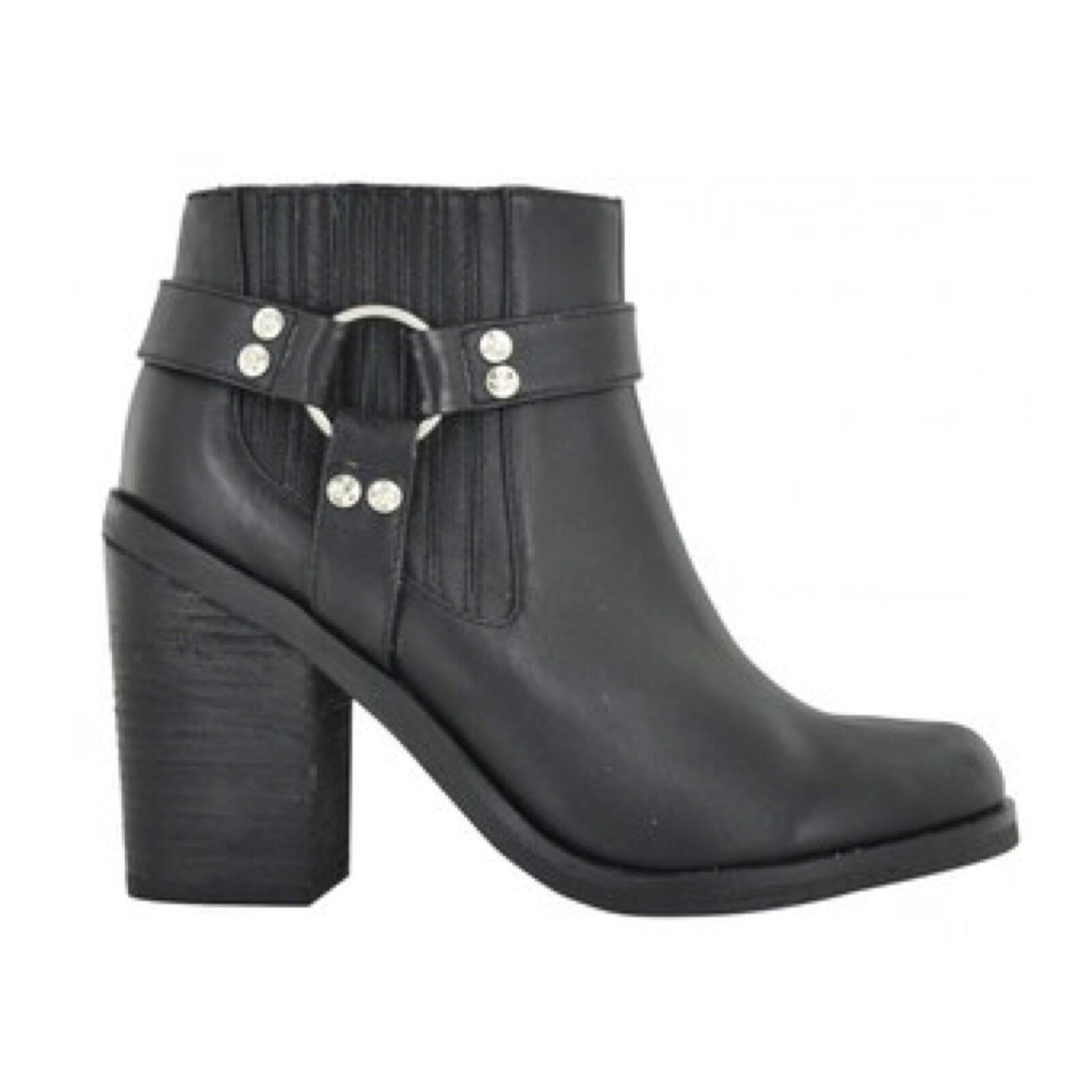 SENSO Black Leather  Jay  Chunky Buckle High Heel Ankle Boot - Size 6 39