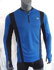59c82af4 Details about Lacoste Sport Blue Men's Long Sleeve Quarter Zip Track  Running Shirt NWT - M