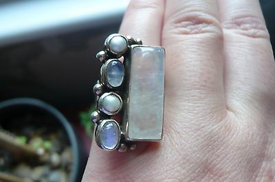 Vintage Moonstone, Pearl and Silver Ring