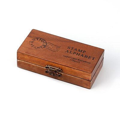 30pcs Vintage Alphabet Uppercase Lowercase Letter Wooden Rubber Stamp Box