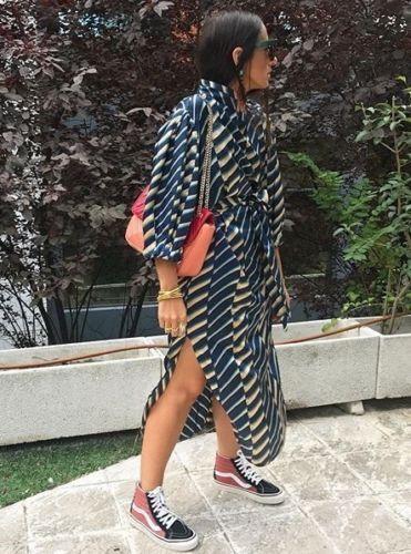 L Zara Striped Midi Dress With Buttons Size M
