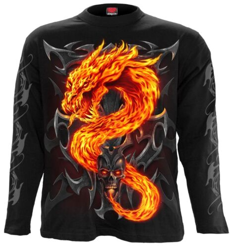 Spiral Fire Dragon Chemise manches longues feu Dragon top dark gothique #3221 380