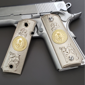 Mexican-eagle-1911-Grips-cachas-PISTOL-GRIPS-Full-Size-45-Commander-Ambi-Cut