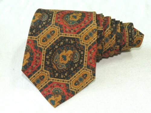 "Coach MEN'S TIE BROWN/GEOMETRIC 3.7/8"" 56"" USA"
