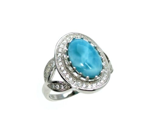 Larimar AAA 100/% Natural .925 Sterling Silver Select your Larimar Ring Size 6.5