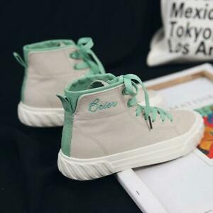 936804bd09 Womens Girls Boots High Top Canvas Sneakers Sports Running Shoes New ...