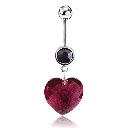 Red Heart Belly Bar Valentines Day Prism Dangly Love Heart Belly Bar Valentine