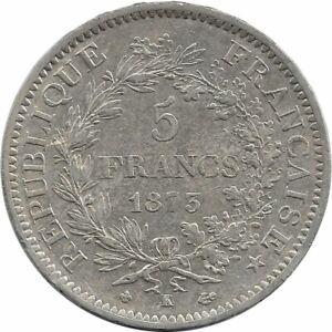 FRANCE-5-FRANCS-HERCULES-DUPRE-1873-K-Bordeaux-TTB