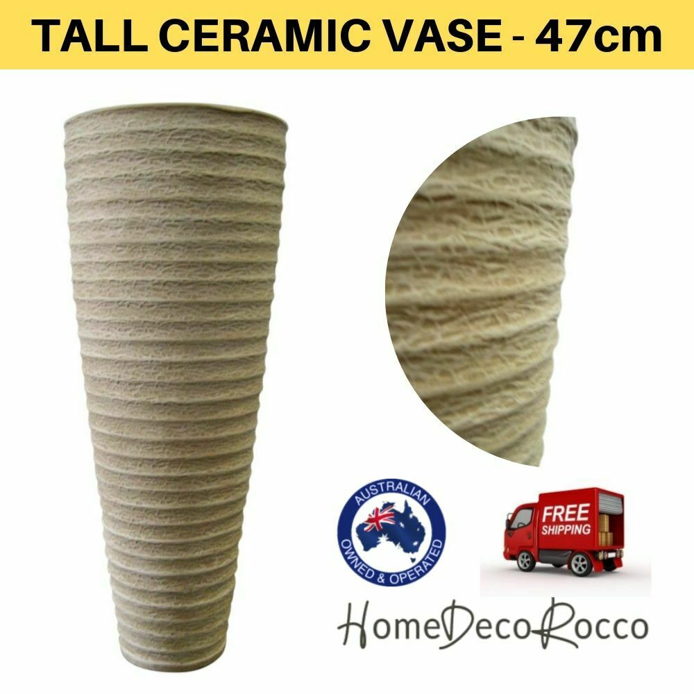 60cm Tall Floor Standing Vase Cream Vase Ceramic For Sale Online Ebay