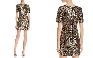 FRENCH-CONNECTION-Leopard-Cheetah-Print-Sequined-Dress-NWT-MSRP-348
