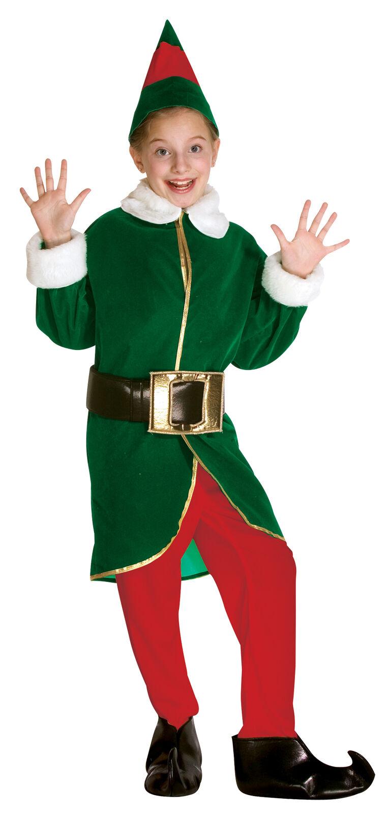 Elf Child Green Red Christmas Costume Velvet Jacket With White Trim Fancy Dress
