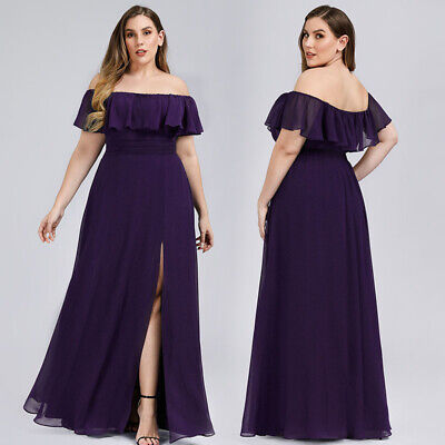 Ever-pretty US Plus Size Formal Evening Party Dresses Off-shoulder Chiffon  Gowns | eBay