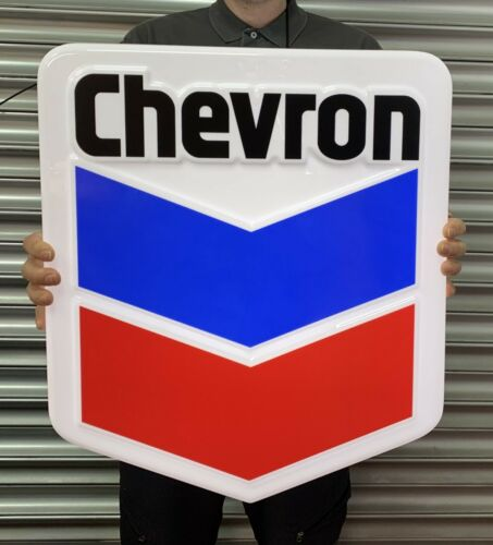CHEVRON GASOLINE LED LIGHT BOX GARAGE GAS OIL ADVERTISING WALL SIGN AUTOMOBILIA