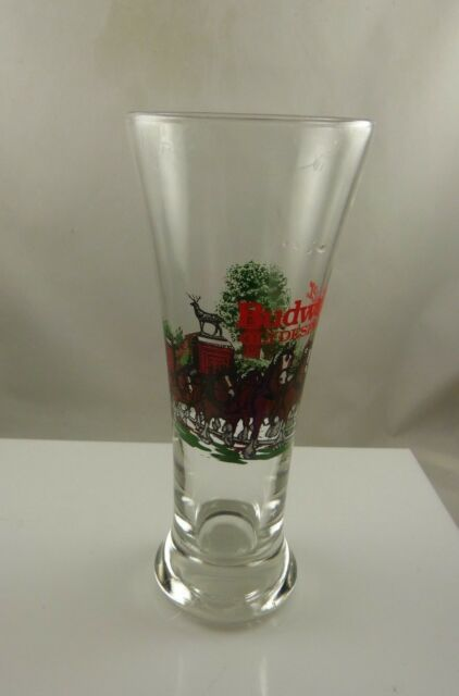 Budweiser Clydesdale beer glass vintage 1991 Anhueser Busch  glass collectible