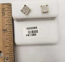 9c26a1db0 Men's 10k Gold .10ct Diamond Stud Earrings 5.2mm Square Kite Pave ...