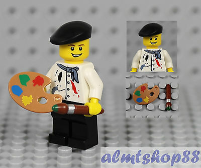 LEGO NEW PAINTER ARTIST MINIFIGURE WITH PAINTBRUSH AND EASEL FIGURE