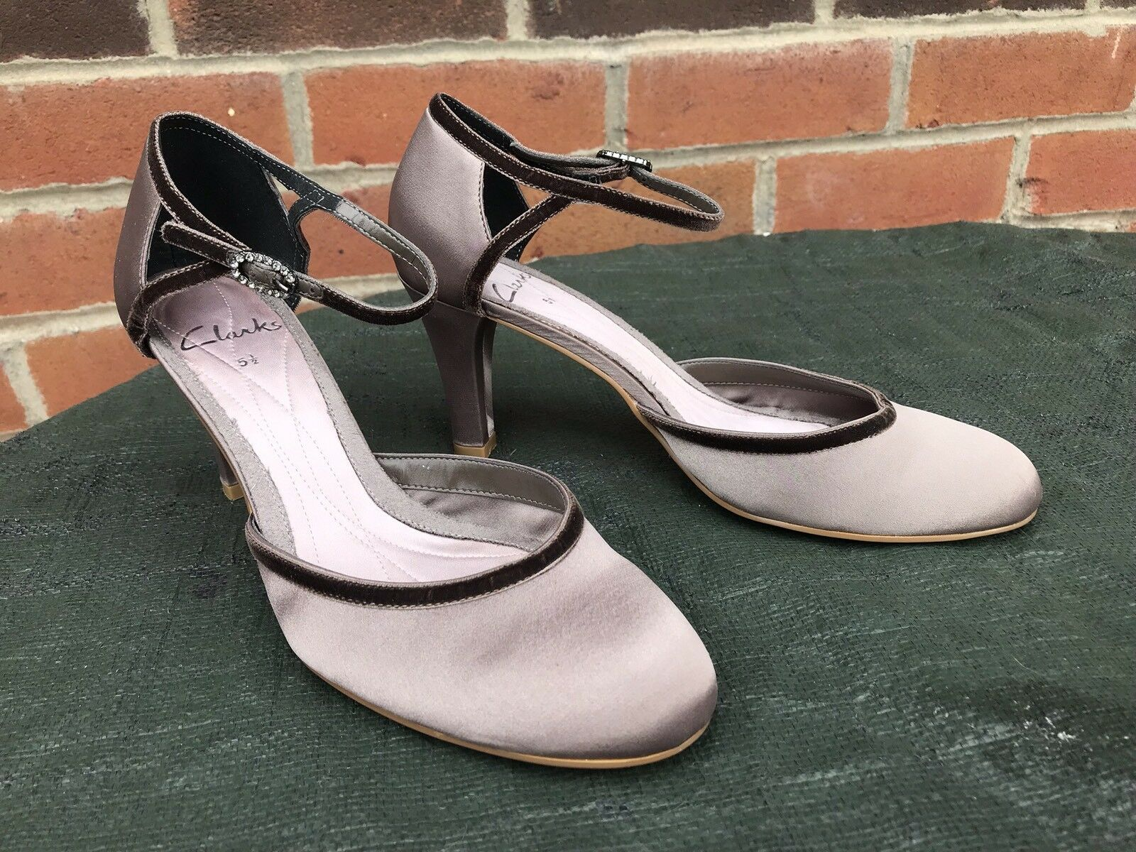 """Womens Satin Clarks Slingback Shoes Ladies Satin Womens 3.5"""" Heel Special Occasion Shoe 5.5 20c125"""