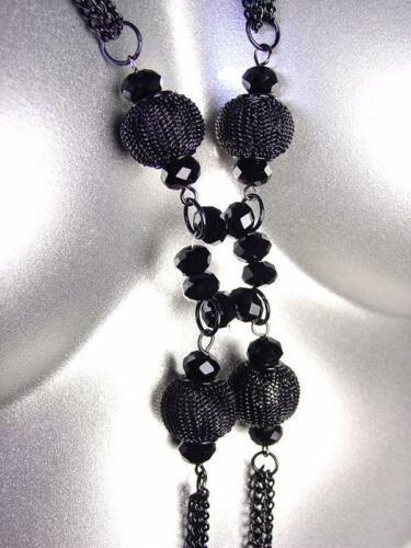 CHIC Black Chains Metal Mesh Beads Czech Crystals Tassel Long Necklace
