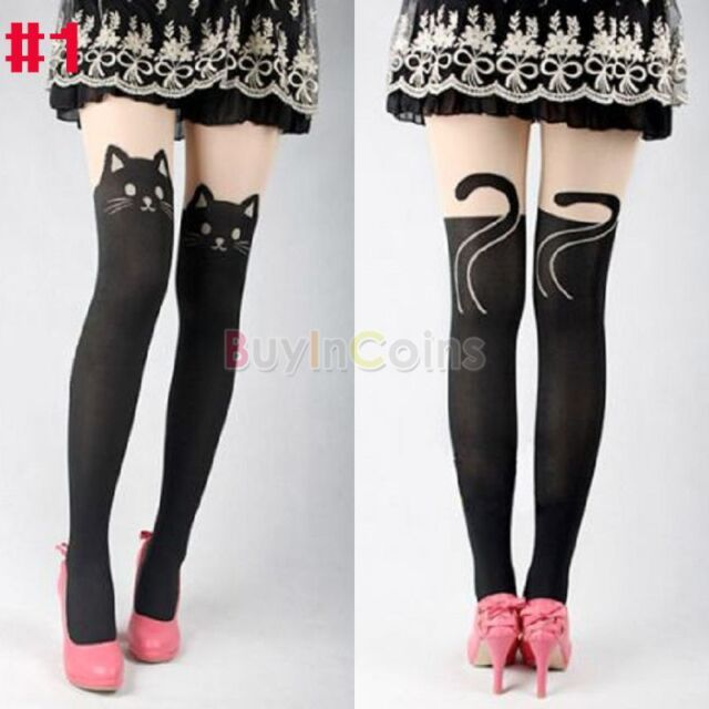 Lovely Cat Pattern Slim Shaped Dual Color Tattoo Trousers Stocking Legging