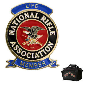 NRA-Life-Member-Badge-with-Fabric-Pins-NRA-Emblem-Brass-with-Enamel