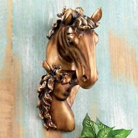 Mare And Foal Horse Wall Hanging Bronze Finish Sculpture Western Home Decor