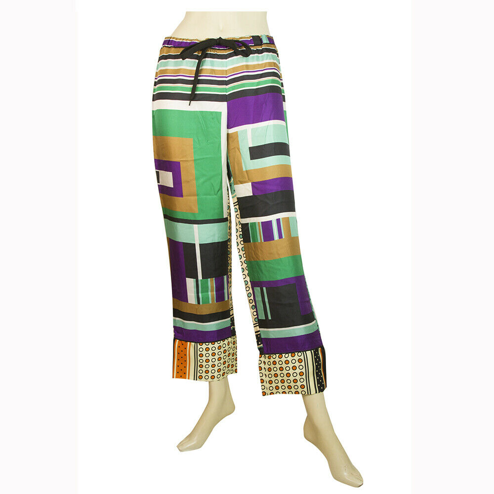 Marni 100% silk Mulicolord Geometric Pattern Cropped Summer Trousers Pants 42