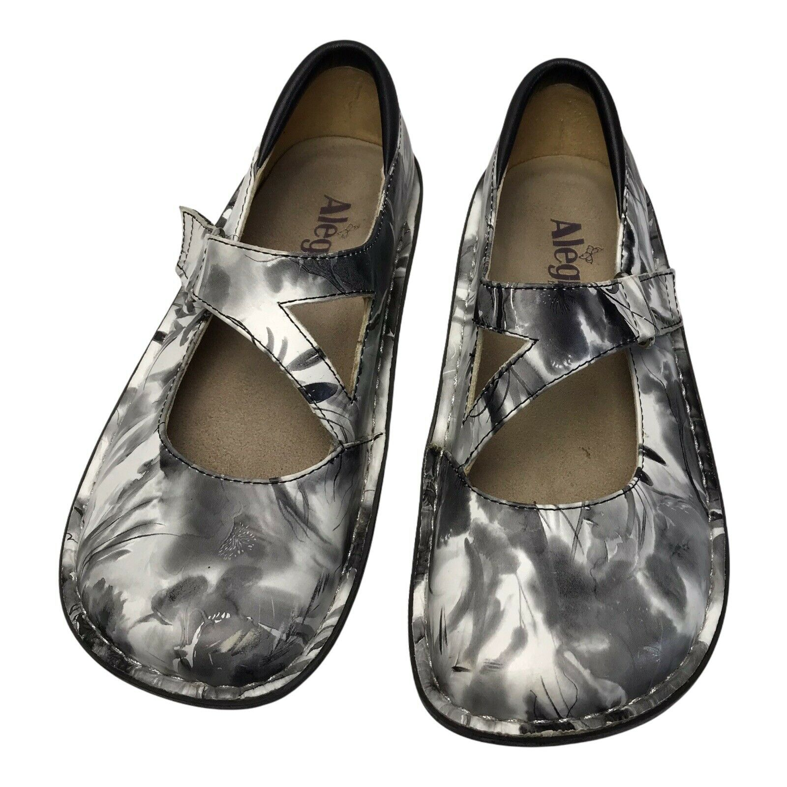 Alegria Dayna Day-366 Black/White Leather Shoes Size 5-5.5 Or Sz 35