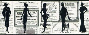Vintage-Women-Ladies-Silhouettes-News-Ads-Newspaper-Wallpaper-Border-PA5651B